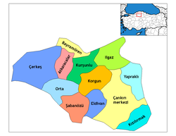 Location of Yapraklı within Turkey.