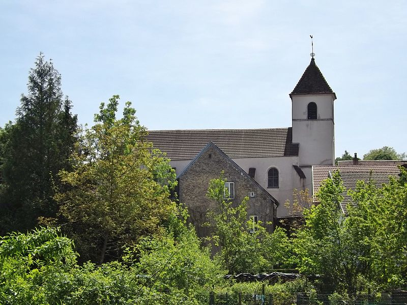 Sight of the church of Geneuille, near Besançon in Doubs, France.