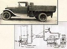 На газогенераторном автомобиле ГАЗ-42 смонтирована газогенераторная установка с опрокинутым процессом газификации...