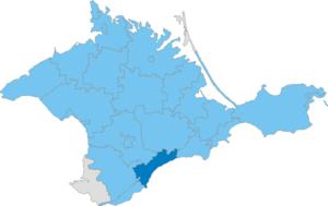 Alushta Municipality - Image: Карта схема Крыма Алуштинский горсовет