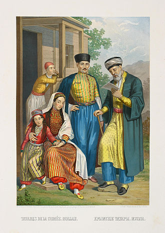 Crimean Tatars - Crimean Tatars and a mullah c. 1862