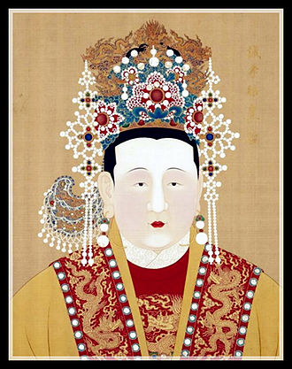 Emperor Yingzong of Ming - Emperor Yingzong of Ming's hanging portrait (left). Empress Changxiao (middle).