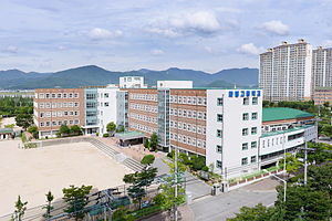 Buk District, Busan - Hwamyeong High School and surrounding apartments