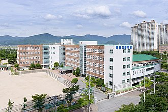 Buk District, Busan - Hwamyeong High School and surrounding apartments