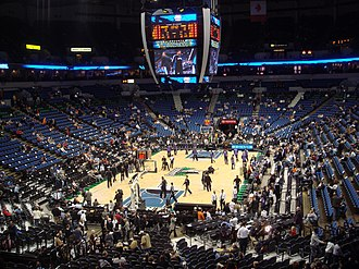 Minnesota Timberwolves - The Timberwolves conduct pre-game warm-ups at their home Arena, the Target Center