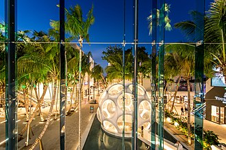 Miami Design District - The Buckminster Fuller Fly's Eye Dome in Palm Court