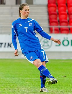 Icelandic footballer Sara Björk Gunnarsdóttir playing an international friendly against Sweden at Myresjöhus Arena in Växjö, 6 April 2013.