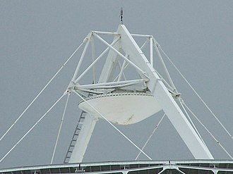 Cassegrain antenna - Closeup of the convex secondary reflector in a large satellite communications antenna in Pleumeur-Bodou, France
