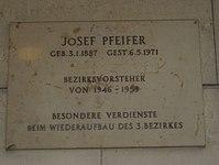 1030 Landstraßer Hauptstraße 11 - Josef Pfeifer-Gedenktafel IMG 1000.jpg