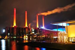 VW power station at night