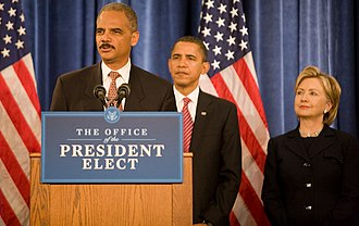 Eric Holder - Holder with Barack Obama and Hillary Clinton on December 2, 2008