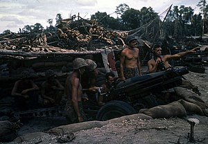 12th Marine Regiment (United States) - A 75 mm pack howitzer of the 12th Marines, in a semi-fortified firing position on Bougainville late in 1943.