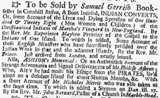 Samuel Gerrish - Advertisement for Samuel Gerrish, bookseller, Boston, 1727