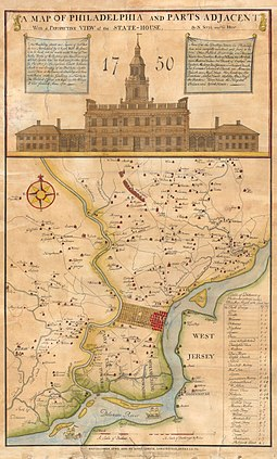 An 18th-century map of Philadelphia, circa 1752 1752 ( 1850 ) Scull ^ Heap Map of Philadelphia ^ Environs (first view of Phillidelphia State House) - Geographicus - Philadelphia-sculllobach-1850.jpg