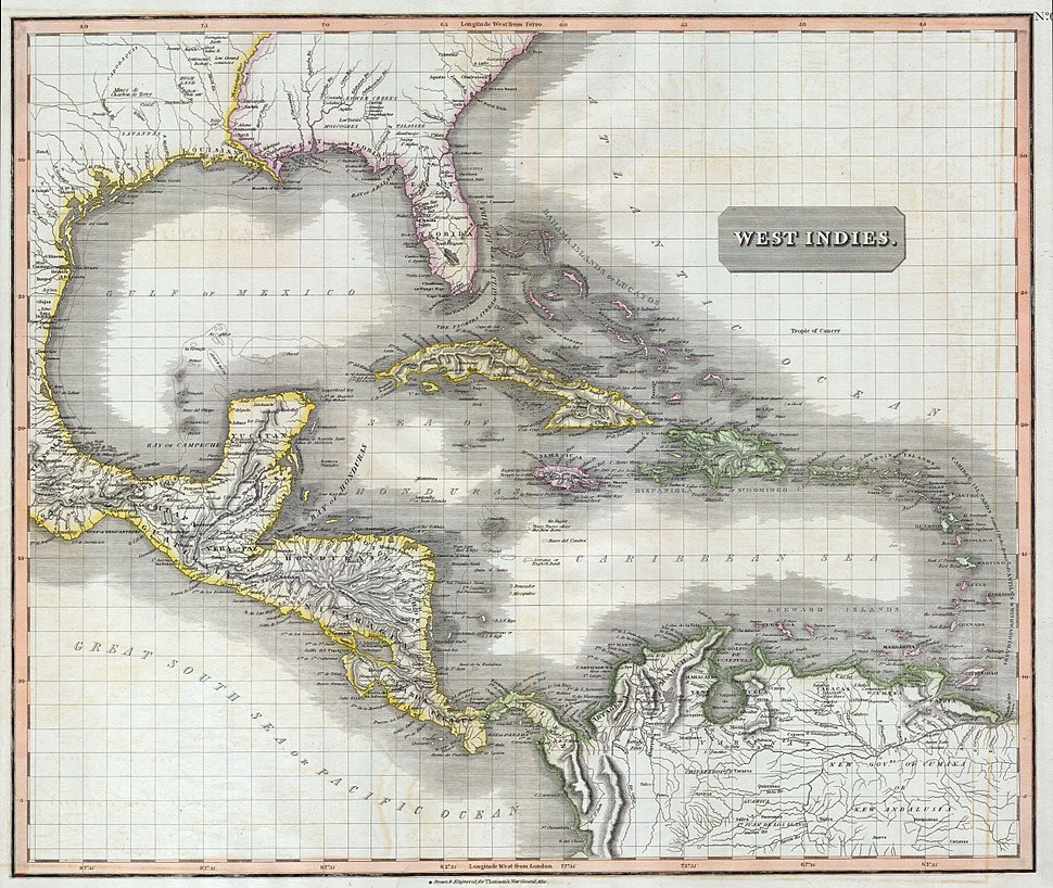 1814 Thomson Map of the West Indies ^ Central America - Geographicus - WestIndies-t-1814
