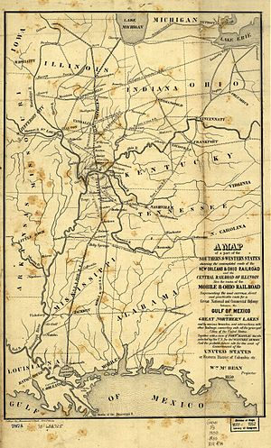 Sidney Breese - Map of the Illinois Central Railroad from 1850, which Breese is considered the father of