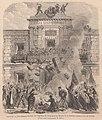 1870-04-23, Le Monde illustré, Espagne, Les femmes brùlent les registres de l'état civil au balcon de la maison consistoriale de Gracia, Férat.jpg