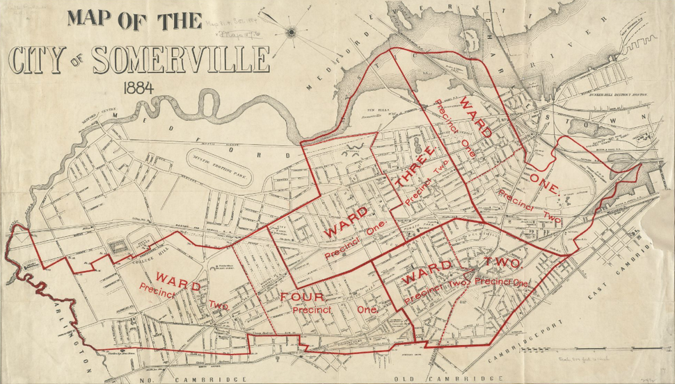 1884 map wards Somerville Massachusetts USA BPL12900