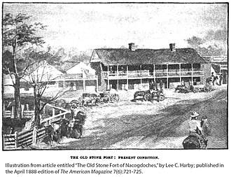 Old Stone Fort Museum (Texas) - Image: 1888 view Old Stone Fort Harby illus American Magazine