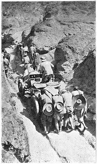 Peking to Paris - The Itala being pulled across unnavigable terrain
