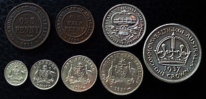 Coins of the Australian pound - Early Australian Imperial Coins—1926 half penny, 1911 penny, 1923 threepence, 1928 sixpence, 1936 shilling, 1936 florin, 1927 florin, and 1937 crown.