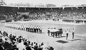 Russian Empire at the 1912 Summer Olympics - The team of Russia at the opening ceremony.