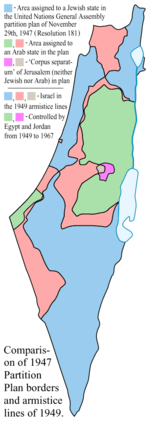 British Mandate: Proposed 1947 partition borders and 1949 armistice lines; main differences are in light red and magenta.