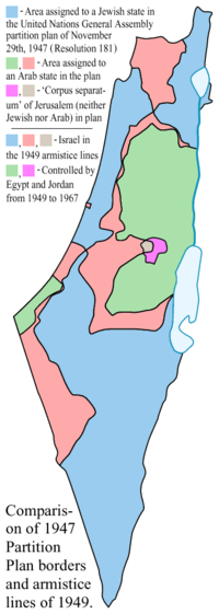 The main differences between the 1947 partition proposal and 1949 armistice lines are highlighted in light red and grey