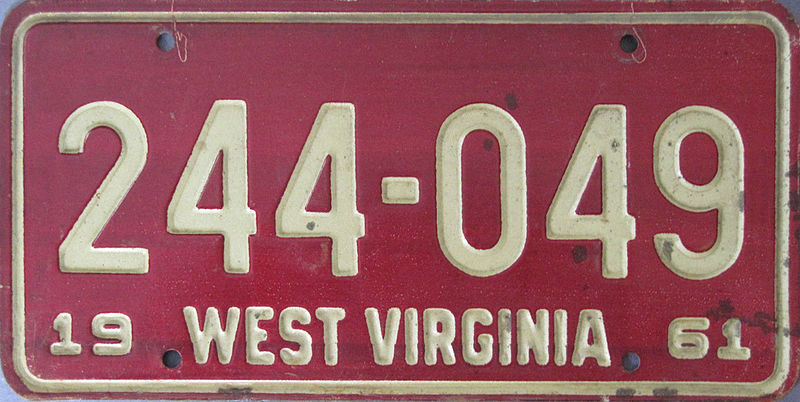 File:1961 West Virginia debossed license plate.jpg