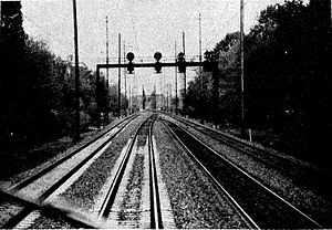 1987 Maryland train collision - Gunpowder Interlocking, the location of the accident. From left to right: Tracks 3, 2, 1, and A.