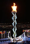 Olympic flame durin the openin ceremonies of the 2002 Games in Salt Lake City
