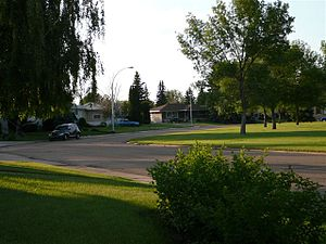 Meadowlark Park, Edmonton - A residential street and Hebert Hart Park in Meadowlark Park