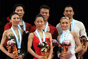 2009–10 Grand Prix of Figure Skating Final - The pairs' podium for the 2009–10 Grand Prix Final.