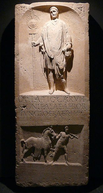Ala Afrorum - Funeral inscription from Novaesium (Neuss, Germany) of Oclatius Carvi filius, a signifer of the Ala Afrorum