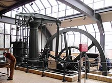 Colour photogrpah of a nineteenth century steam engine in the Berlin Museum of Technology.
