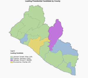 Liberian general election, 2011 - First round presidential map showing the winners of each county
