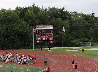 Village of Lisle-Benedictine University Sports Complex - Image: 2013 06 09 Benedictine University Scoreboard