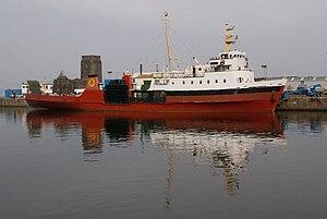 MV Saturn - Saturn getting repainted in the James Watt Dock, Greenock
