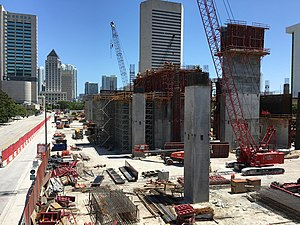 Government Center (Miami) - July 2016 photo with new Brightline station under construction by subsidiary of FEC railway.