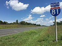 2016-08-24 13 19 27 View north along Interstate 81 just north of Interstate 66 and just south of Middletown in southern Frederick County, Virginia.jpg
