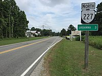 2017-07-05 10 34 59 View north along Virginia State Route 227 (Urbanna Road) at Virginia State Route 33 (General Puller Highway) in Cooks Corner, Middlesex County, Virginia.jpg