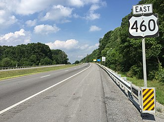 U.S. Route 460 - US 460 eastbound at WV 598 in Bluefield, West Virginia