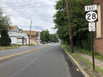 Garwood, New Jersey - Route 28 eastbound in Garwood