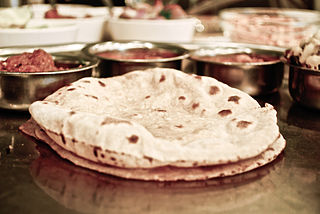 Chapati unleavened wheat flatbread eaten in South Asia