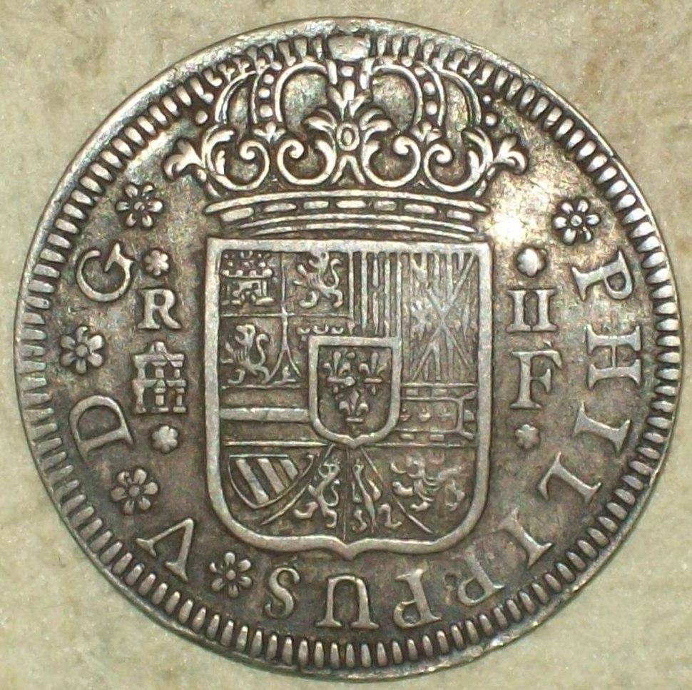 "2 Reales (Plata) de Felipe V con ""ceca"" de Segovia 1723 Reverso"