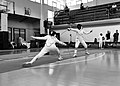2nd Leonidas Pirgos Fencing Tournament. Evridiki Koletsou attempts to score a foot touch while her opponent performs a counter-attack.jpg