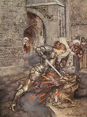 Lancelot - Lancelot slaying a dragon in Arthur Rackham's illustration for Tales of King Arthur and the Knights of the Round Table, abridged from Le Morte d'Arthur by Alfred W. Pollard (1917)