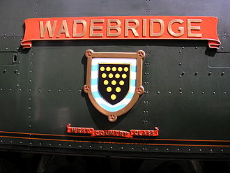 SR West Country and Battle of Britain classes - Nameplate configuration 1: West Country (34007 Wadebridge)