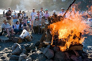 Midsummer - Danes celebrating Midsummer by singing the Midsummer hymn by the bonfire