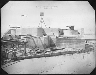 QF 4.7-inch Mk I – IV naval gun - Battery Hogan under construction, Fort San Jacinto, Harbor Defenses of Galveston, Texas.